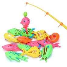 11 pieces per Set Magnetic Fishing Toy Game for Kids 1 piece Rod + 10 pieces 3D Fish Baby Bath Toys Outdoor Fun toys GYH