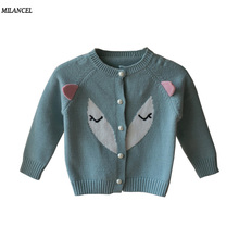 Milancel Baby Girls Sweaters Autumn 2017 Girl Long Sleeve Knitted Clothes Kids Winter Knitwear Fox Style Sweaters Kids Cardigans