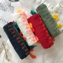 Embroidery scarf 2017 women spring autumn Japanese style fresh ethnic long green blue red white embroidery solid scarves cape