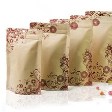 Floral Printed Aluminum Foil Ziplock Bag Kraft Paper Stand Up Pouch Food Storage Packaging Bags Rese 200piece/lot Free shipping(China)