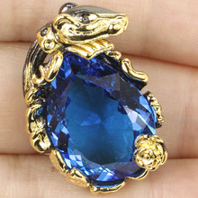 Special Crocodile Big Gems 20x15mm Swiss Blue Topas SheCrown Woman's Black Gold Silver Pendant 28x20mm