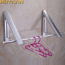Free shipping Aluminium Wall Hanger Retractable Indoor Clothes Hanger Clothes Towel Rack Bathroom Laundry Rack Clothes Hanger(China)