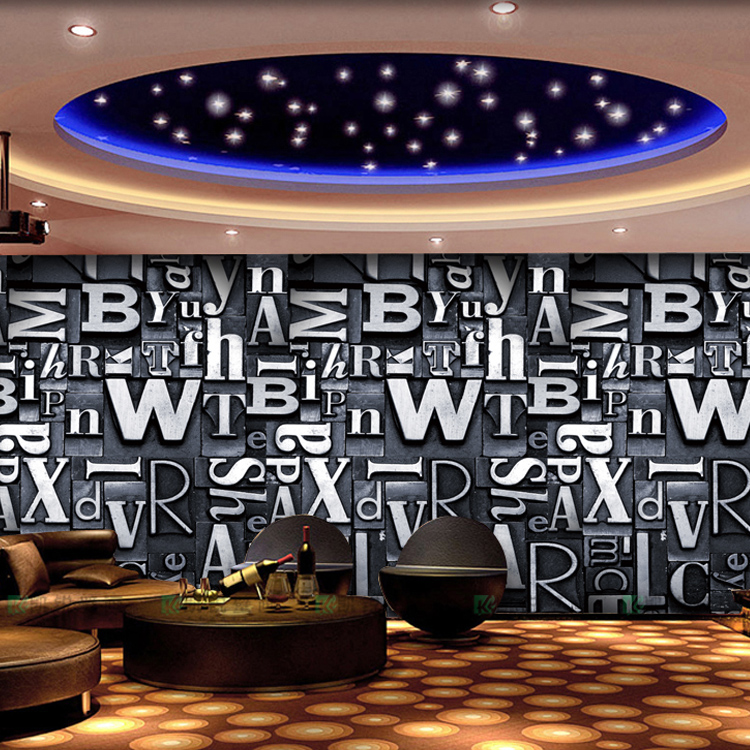 wall paper papel de parede A large mural wallpaper retro bar ktv personality European retro British street art 3D alphabet<br><br>Aliexpress
