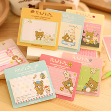 MQStyle 1Pcs New Cute Rilakkuma Bear Sticky Notes Creative Cartoon Design Messages Posted Multifunction Memo Pad Book H0278