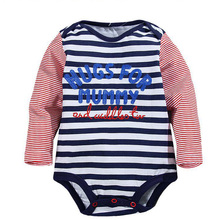 Baby Clothing Long Sleeve Package Fart Cotton Baby Bodysuit Long Sleeve Kid Lines Letters Between Male Baby Bodysuit Boy Clothes