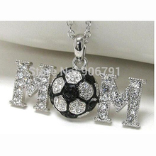 DROP SHIPPING Rhodium Plated Large Crystal Soccer Ball Mom Sports Pendant Necklace(China)