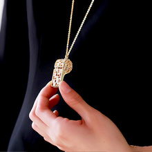 Necklace Ccrystal Whistle Pendant Necklaces Full Rhinestone Choker Jewelry Long Sweater Chain Elegant