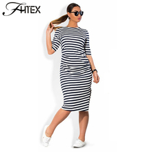 Women Plus Size Shift Dress Fashion Elegant Brief Striped Half Sleeve Summer Casual Loose Party Dress 4XL 5XL 6XL