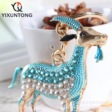 Cute Blue goat Pendant keychain Fashion Rhinestone Crystal Creative ladies dress handbag wallet Jewelry Llavero Chaveiro