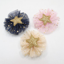 15pcs/lot Glitter Gold Star Barrette with Sparkly Star Gauze Mesh Bow Cute Girls Hair Clip Dark Blue Photo Prop Hairpin(China)