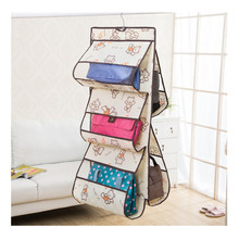 031406 5 pockets foldable oxford over hanging bag organizer storage Cloth dust bag Breathable no deformation Transparent PVC Pre