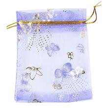 100pcs/lot Purple Butterfly Print Wedding Candy Bags Jewelry Packing Drawable Organza Bags Party Gift Bags Pouches 10x12cm