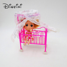 Pulley lace mosquito bed Barbie doll Dollhouse life furniture girls Doll Accessories birthday gift dolls toys for girls children(China)