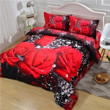 NEWLY luxury soft redrose bedding set duvet cover set queen size(China)