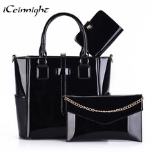 iCeinnight 3 Set Composite bag female high quality PU leather patent women handbag fashion solid black Messenger bolsa feminina