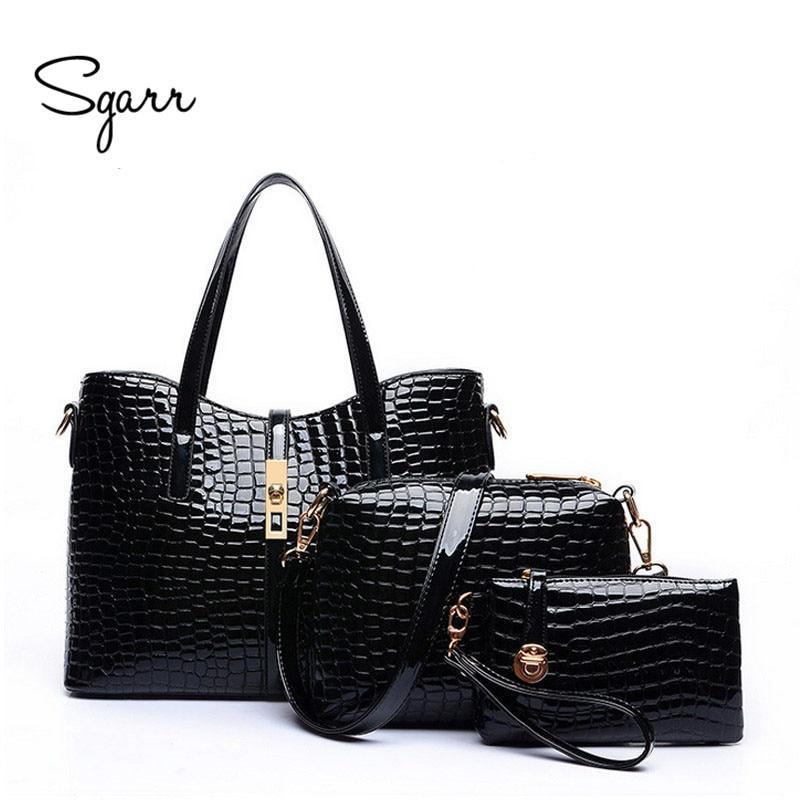 SGARR Brand Women Handbags Crocodile Bags 2017 New Fashion Women Messenger Bags Ladies Shoulder Bags PU Leather Composite Bag <br><br>Aliexpress