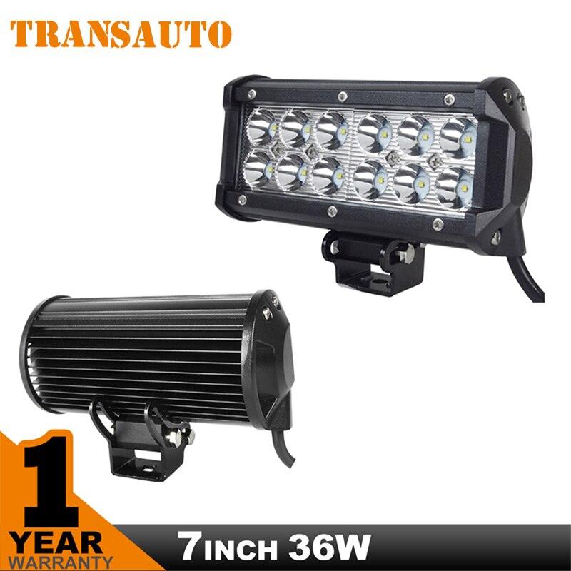 7 Inch 36W LED Light Bar Flood/Spot Beam Offroad Driving LED Light Fit 12V 24V 4x4 Truck ATV Spotlight Fog Lamp Work Light Bar<br><br>Aliexpress