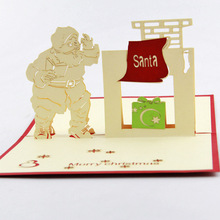 Qubiclife Santa Claus with chimney Christmas card creative handmade cards