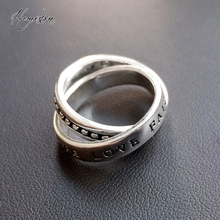 Thomas Love Faith Hope Doule Ring,  Euporean Rebel Heart Style Jewelry Gift for women and men TS-R121