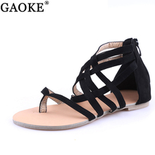 Women Shoes Sandals Comfort Sandals Summer Flip Flops Fashion High Quality Cross Strap Flat Sandals Gladiator Sandalias Mujer(China)