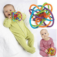 2017 New Baby Rattles Toys Develop Intelligence Baby Toys 0-12 months Bell Ball Baby Grasping Toy Plastic Hand Bell Rattle(China)