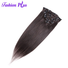 Fashion Plus Machine Made Remy Clip In Human Hair Extensions #1B Natural Straight Hair Extension Clip Ins 16 18 20 22 24 Inches(China)