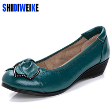 6 colors Plus Size(34-43)Loafers Comfortable Women Genuine Leather Flat Shoes Woman Casual Nurse Work Shoes Women Flats b979