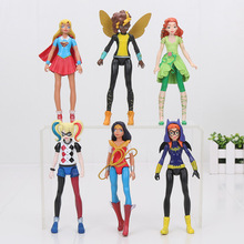 6pcs/set DC Super Hero Girls Batgirl Poison Ivy Bumble Bee Harley Quinn Wonder Woman Action Figure Doll Toy 15cm