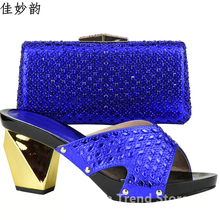 Women Shoes and Bag Set In Italy New Royal Blue Shoes and Bag Set Decorated with Rhinestone Ladies Shoes and Bag Set for Wedding