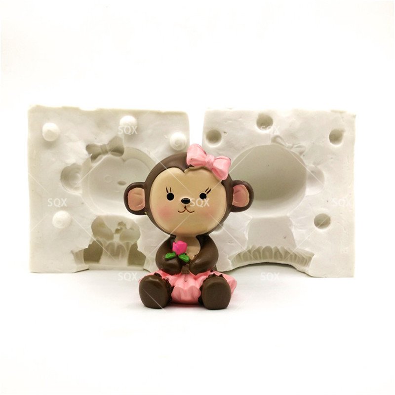 3D Cute Girl Baby monkey candle Silicone fondant cake mold Salt carving mould silicone Candle mold SQ168(China (Mainland))
