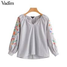 Vadim women vintage floral embroidery striped shirts v neck long sleeve blouse retro ladies casual brand chic tops LT2475(China)