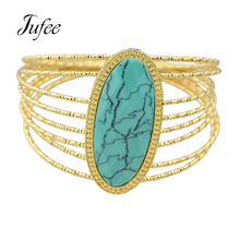 Bohemian Style Ethnic Jewelry Gold-Color Multi Layer Big Bracelet Red Blue Pink White Stone Bangles New Designer For Women