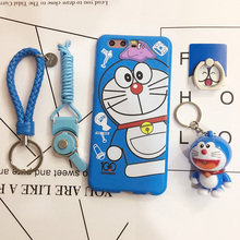 For huawei p10 plus case with Ring Stand Lanyard Silicon Fitted Case for huawei p10 case Cartoon cute Doraemon protection cover(China)