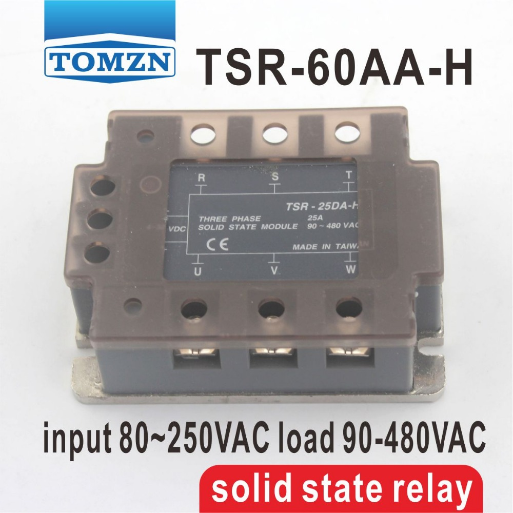 60AA TSR-60AA-H Three-phase High voltage type SSR input 80~250VAC load 90-480VAC single phase AC solid state relay<br>