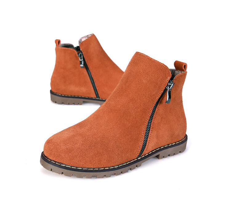 3 Colors Brand New Genuine Leather Womens ankle Boot Cow Suede short boots zipper motorcycle flat Shoes Plus size 35-43<br>