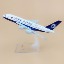 Alloy Metal Air MONGOLIAN Airlines A380 Airplane Model MONGOLIAN Airbus 380 Airways Plane Model Stand Aircraft Kids Gifts 16cm(China)