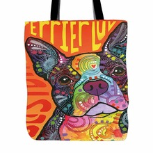 Boston Terrier Series Tote Bags Muilt Color Double Sided Printing Canvas Animals Tote Bag Art Dog Designed Shopping Handle(China)