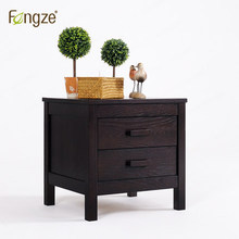 FengZe furnishing FZ111 wooden nightstand simple country style bedroom mini storage small bedside cabinet solid wood in oak(China)