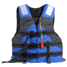 Blue Life Jacket Women Men Polyester Adult Jacket For Surfing Swimming Boating Ski Safe Adjustable Vest With Whistle One Size(China)