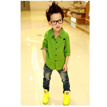 Retail Wholesale New Boys Kids Button Down Dress Shirt Long Sleeve Casual Shirts Tops Clothes ZV37