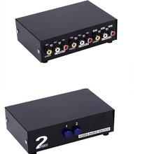 1pcs 2 Way Splitter AV RCA Audio Video Switch Selector Box w/3 RCA Cable for XBox PS2 #50702