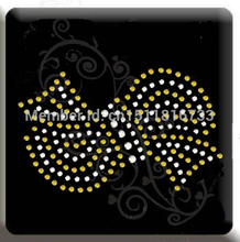 100 Pcs/Lot Bow pattern hotfix rhinestone transfers designs stones for clothes decoration Wholesale(China)