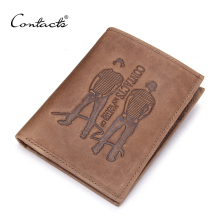 CONTACT'S Brand Design Men Wallets Fashion Famous Brand Wallet Leather Purse Short Purse Male Thin New High Quality