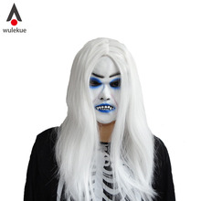 Horrible Toothy White Long Hair Ghost Face latex soft Mask Halloween Party Prop Costume MUS(China)