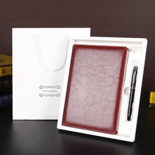 good quality business office PU leather notebook 100g rice yellow paper 150*220mm 200 pages notepad pen set composition book(China)
