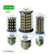 1X Original Smart Power IC Design Real No Flicker/Strobe LED lamp E27 220V High Luminous Flux 4014 SMD LED Corn Bulb light