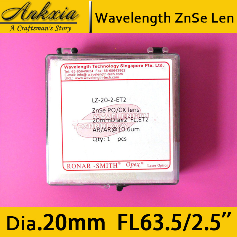 Wavelength Technology Dia 20mm Length 63.5mm ZnSe Co2 Laser Focus Len for Cutter Engraving Machine 0 to 170W<br>