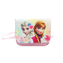 Cute Anna Elsa Princess PU Leather Pink Small Shoulder Messenger Bag Mini Crossbody Bags for Girls Kids Accessories Wallet Purse