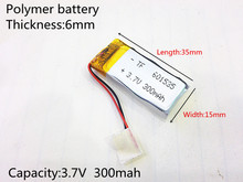 601535 Rechargeable Lithium Li ion Polymer 3.7V 300mAh Battery For Bluetooth Headset Mouse Bracelet Wrist Watch 061535