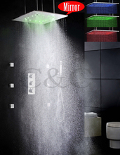 Mist And Rainfall Bathroom LED Shower Faucet Set 20 Inch Bath Shower Head With Thermostatic Shower Faucet Valve